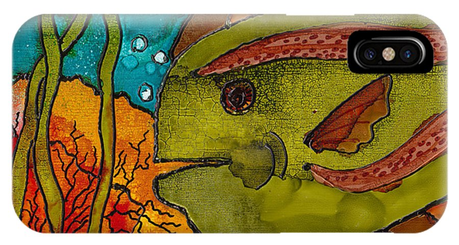 Fish IPhone Case featuring the painting Striped Fish by Susan Kubes