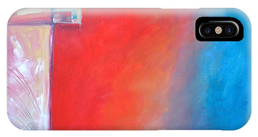 Abstract IPhone X Case featuring the painting Structures And Solitude Revisited by Tim Nyberg