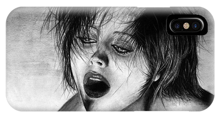 Drugs Altered States Out Strung Woman Girl Celebrity Nude Beautiful Hair Chic Glamour Noir Sexy Hot IPhone Case featuring the drawing Strung Out by Priscilla Vogelbacher