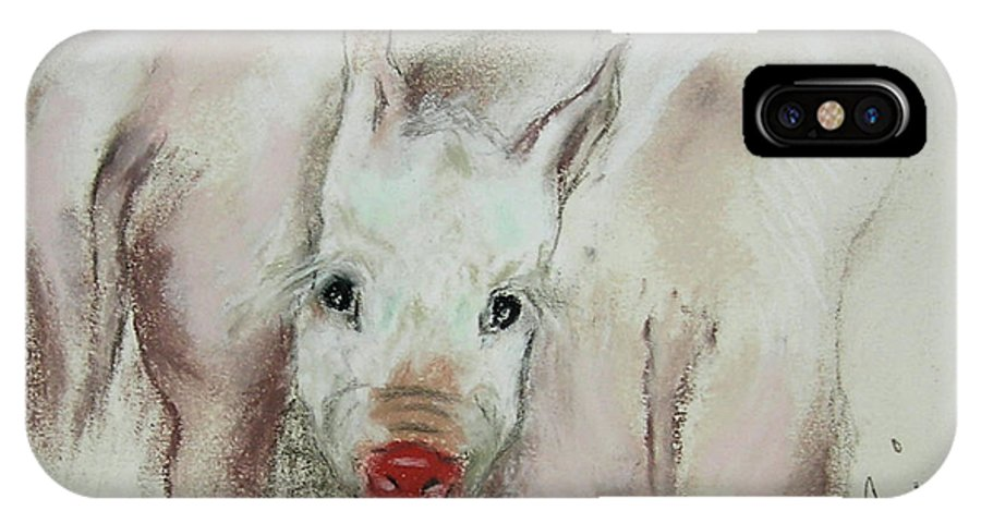 Animal IPhone X / XS Case featuring the drawing Stuck In The Middle by Cori Solomon