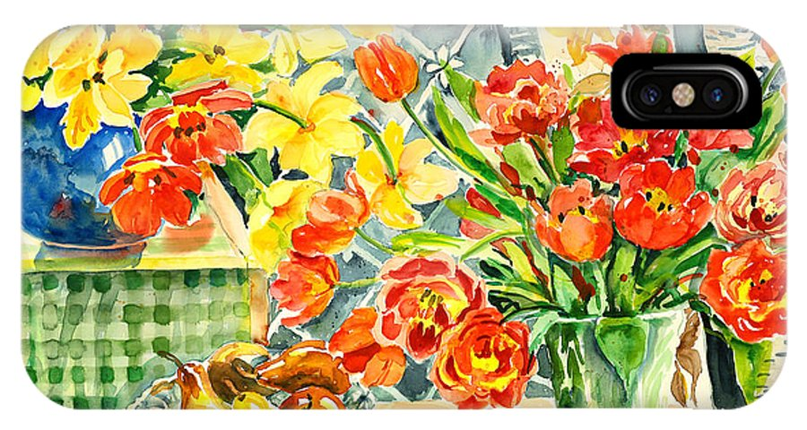 Watercolor IPhone X / XS Case featuring the painting Studio Still Life by Ingrid Dohm
