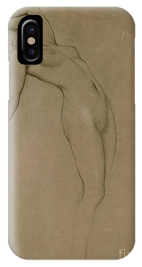 Study IPhone X Case featuring the drawing Study For Clyties Of The Mist by Herbert James Draper