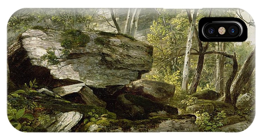 Durand IPhone X Case featuring the painting Study From Nature  Rocks And Trees by Asher Brown Durand