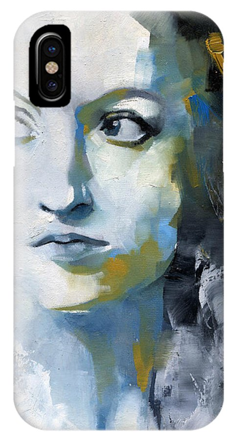 Portrait IPhone X Case featuring the painting Study In Blue And Ochre by Patricia Ariel