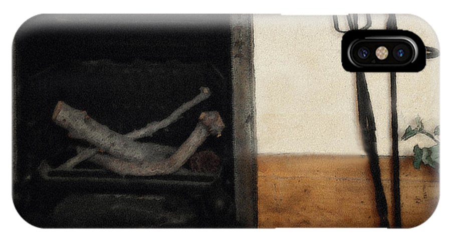 Fireplace IPhone X Case featuring the painting Study In Iron, Wood And Stone by RC DeWinter