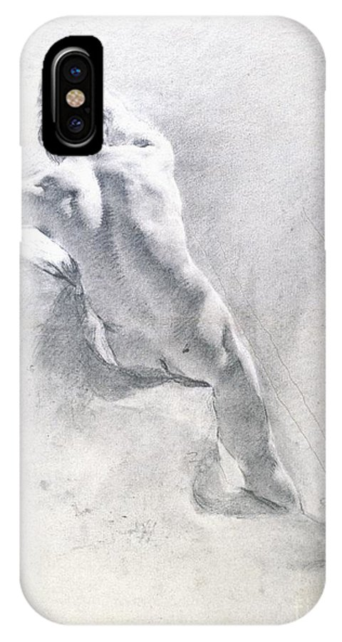Study IPhone X Case featuring the drawing Study Of A Male Nude by Giambattista Piazzetta