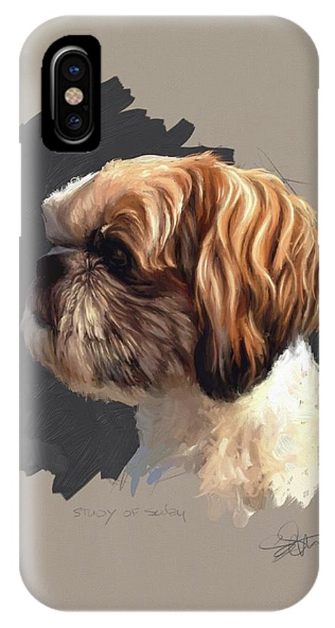 Dog IPhone X Case featuring the painting Study Of Scoby by Shelley Hanna