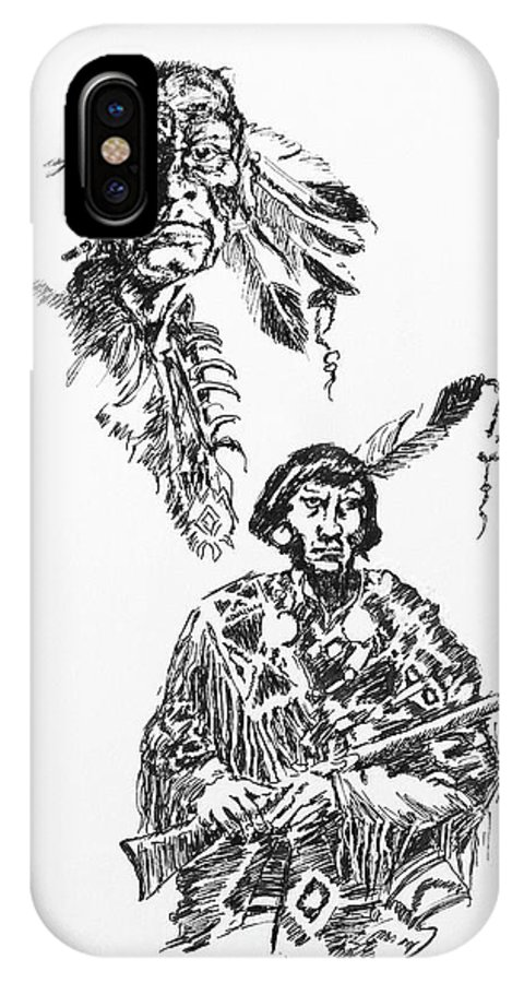 Faces IPhone X Case featuring the drawing Study Of Two Indians by Dagmar Pollack