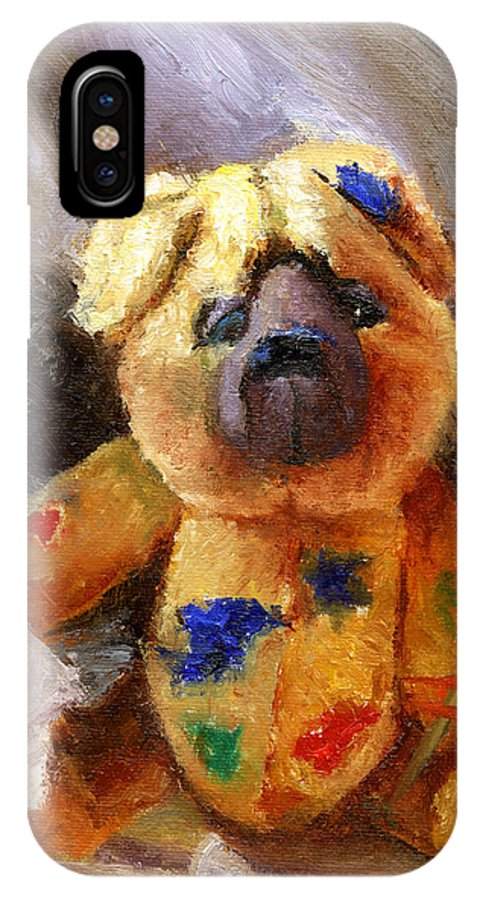 Teddy Bear Art IPhone X Case featuring the painting Stuffed With Luv by Chris Neil Smith