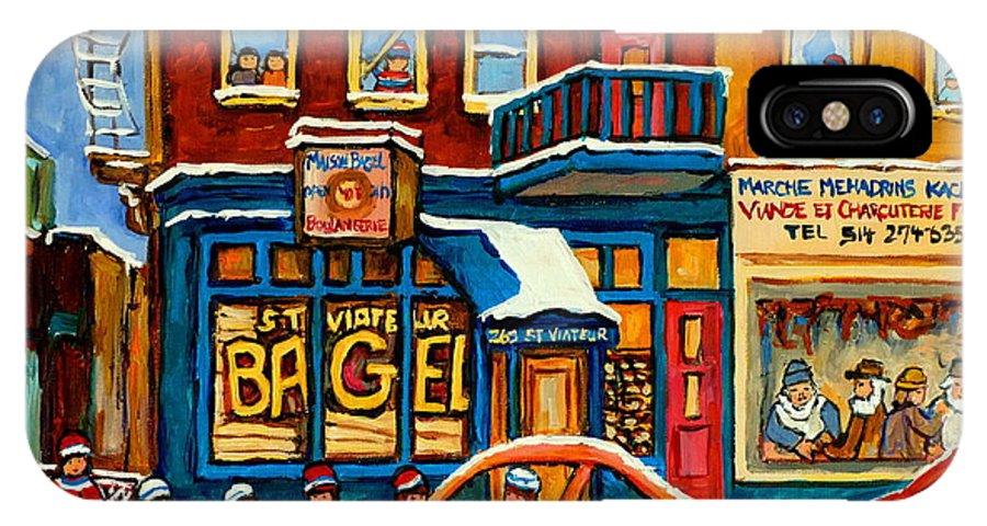 St.viateur Bagel IPhone X Case featuring the painting St.viateur Bagel Hockey Montreal by Carole Spandau