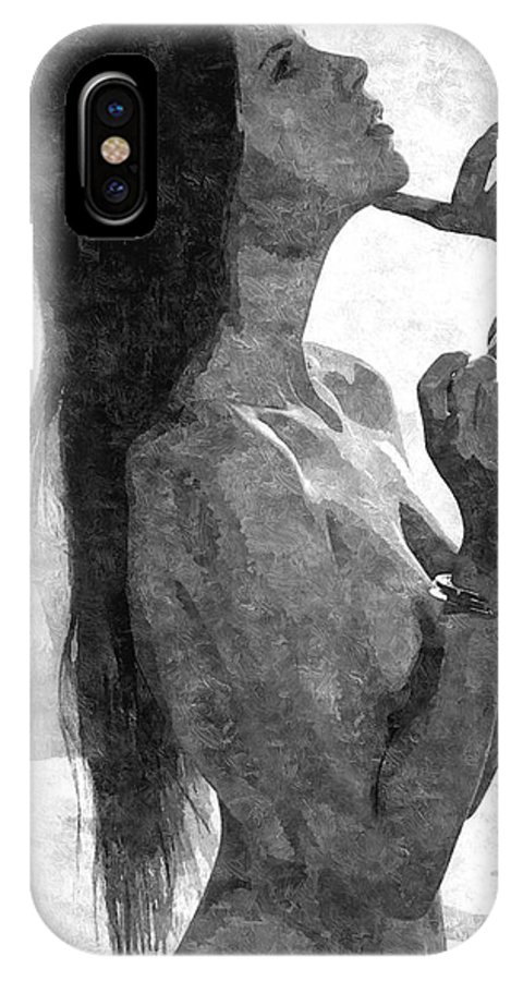 Bdsm IPhone X / XS Case featuring the painting Submission In Black - Obey by BDSM love
