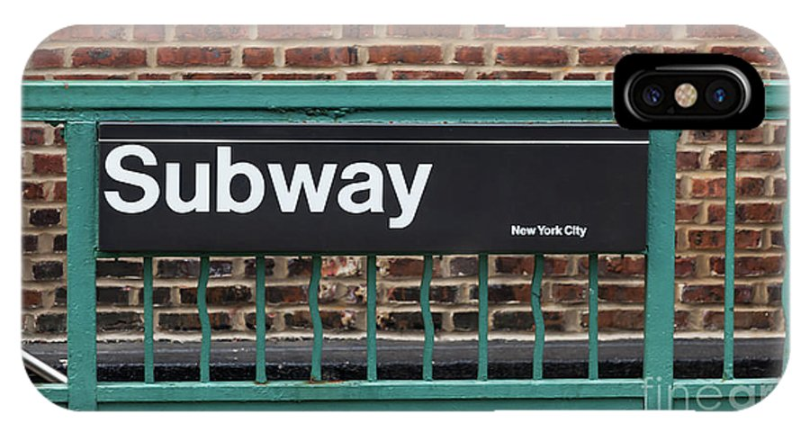 Subway IPhone X / XS Case featuring the photograph Subway Sign In New York City by Antonio Gravante