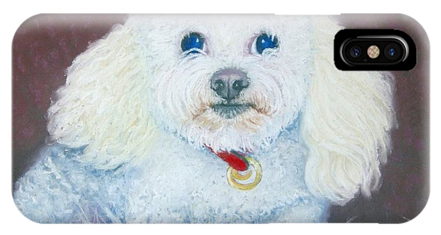 Dog IPhone X Case featuring the painting Such A Charm by Minaz Jantz