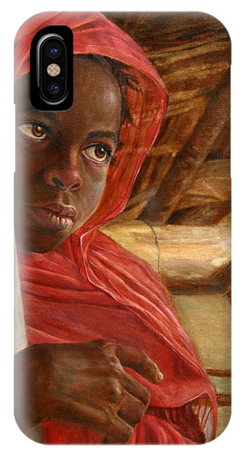 Children Painting IPhone X Case featuring the painting Sudanese Girl by Portraits By NC