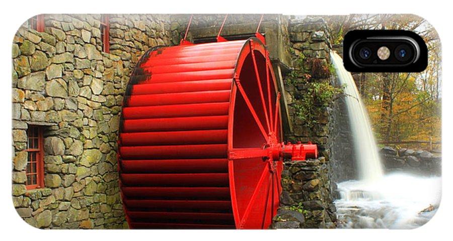 Massachusetts IPhone X / XS Case featuring the photograph Sudbury Grist Mill Water Wheel by John Burk
