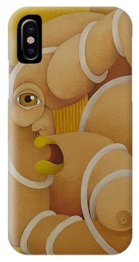 Sacha IPhone X Case featuring the painting Suffering Woman 2003 by S A C H A - Circulism Technique