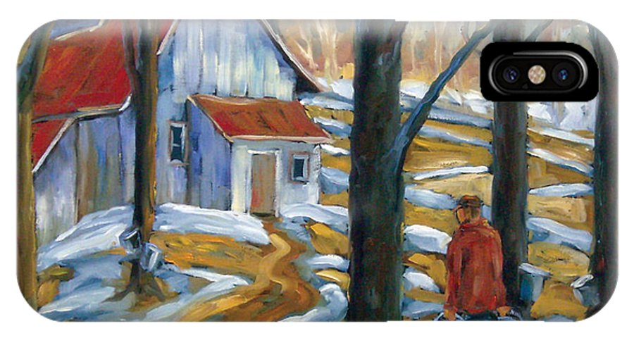 Suga IPhone X Case featuring the painting Sugar Bush by Richard T Pranke