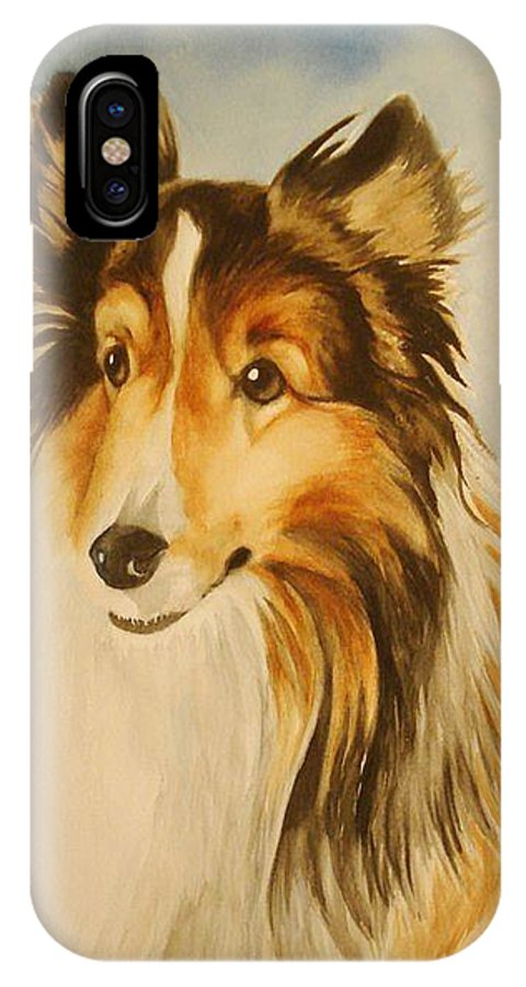 Sheltie IPhone X Case featuring the painting Sugar by Marilyn Jacobson