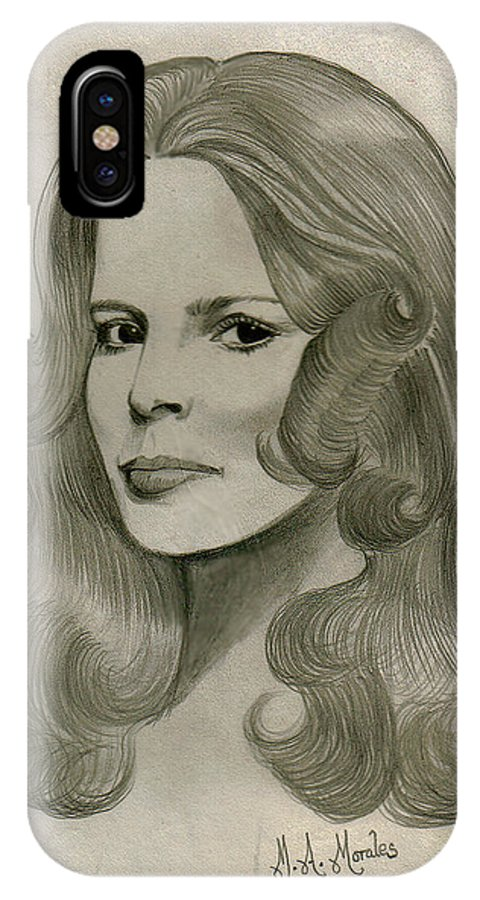 Drawing IPhone X Case featuring the drawing Sultry Smile by Marco Morales