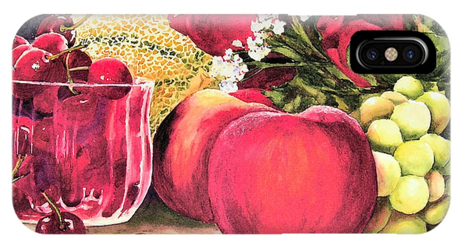 Cherries IPhone X Case featuring the painting Summer Bounty by Karen Stark