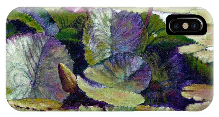 Water Lilies IPhone X Case featuring the painting Summer Breeze by John Lautermilch