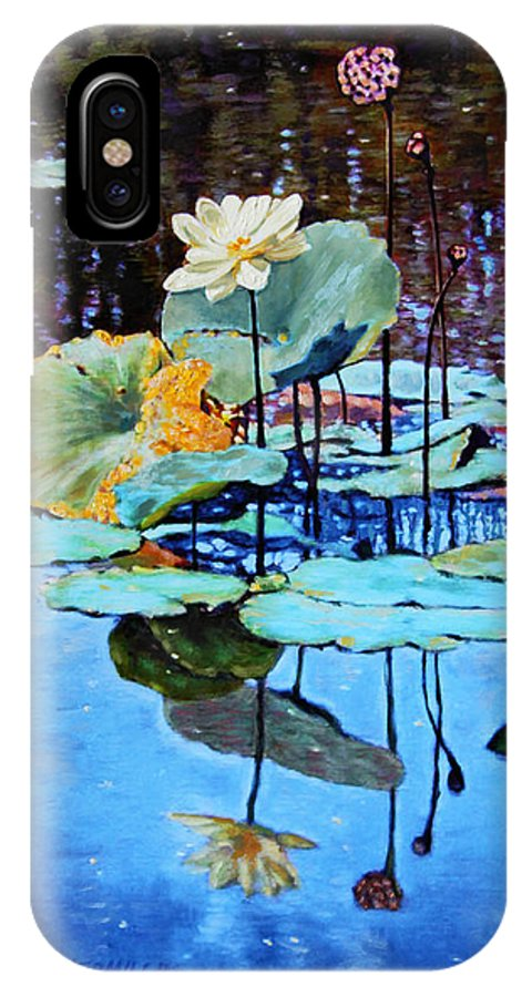 Lotus Flower IPhone X Case featuring the painting Summer Calm by John Lautermilch