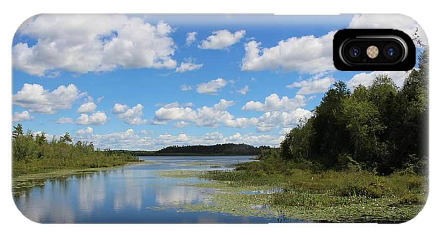 Summer IPhone X Case featuring the photograph Summer Cloud Reflections On Little Indian Pond In Saint Albans Maine by Colleen Snow