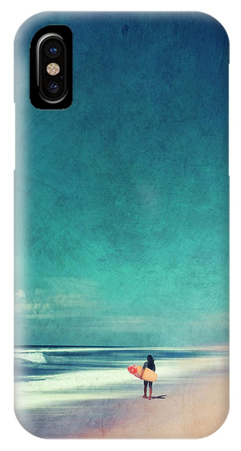 Landscape IPhone X Case featuring the photograph Summer Days - Abstract Seascape With Surfer by Dirk Wuestenhagen