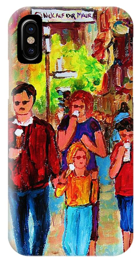Montreal Streetscenes IPhone X Case featuring the painting Summer In The City by Carole Spandau