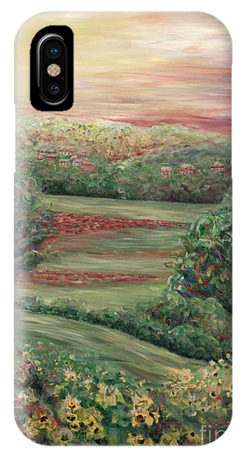 Landscape IPhone X Case featuring the painting Summer In Tuscany by Nadine Rippelmeyer