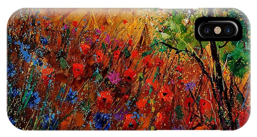 Flowers IPhone X Case featuring the painting Summer Landscape With Poppies by Pol Ledent