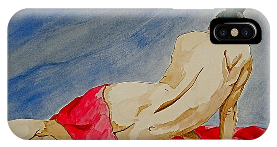 Nudes Red Cloth IPhone Case featuring the painting Summer Morning 2 by Herschel Fall