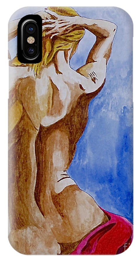 Nude By Herschel Fall Very Hot Nude IPhone X Case featuring the painting Summer Morning by Herschel Fall
