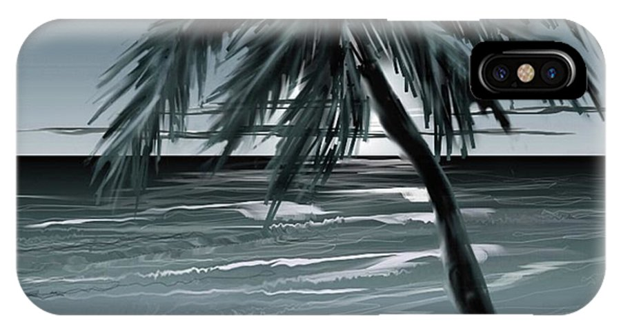 Water Beach Sea Ocean Palm Tree Summer Breeze Moonlight Sky Night IPhone X Case featuring the digital art Summer Night In Florida by Veronica Jackson