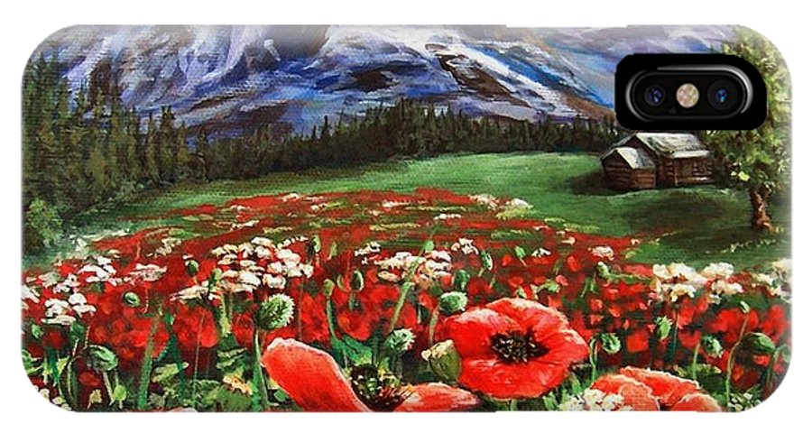 Mountain IPhone X Case featuring the painting Summer On The Mountain by Mona Davis