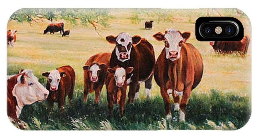 Hereford IPhone X Case featuring the painting Summer Pastures by Toni Grote