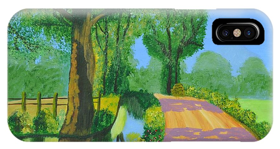 Landscape IPhone X / XS Case featuring the painting Summer Path by Magdalena Frohnsdorff