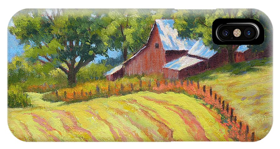 Landscape IPhone X Case featuring the painting Summer Patterns by Keith Burgess
