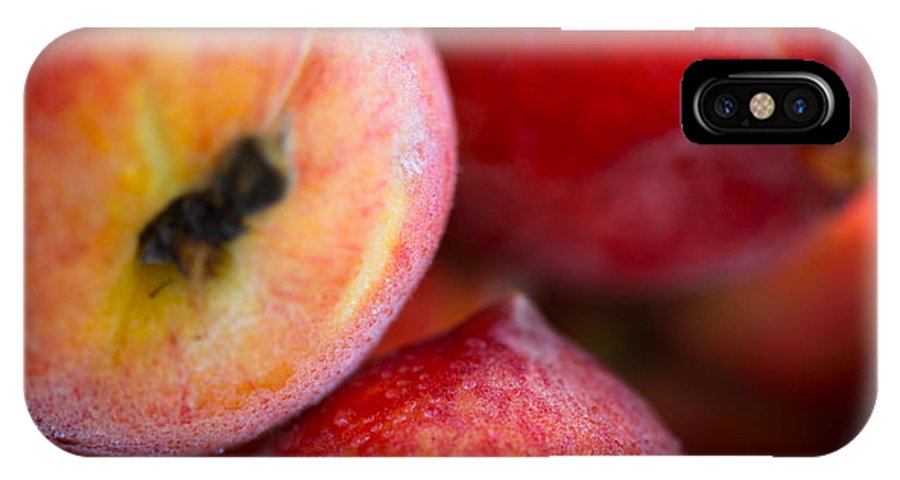 Peach IPhone X Case featuring the photograph Summer Peaches by Nadine Rippelmeyer
