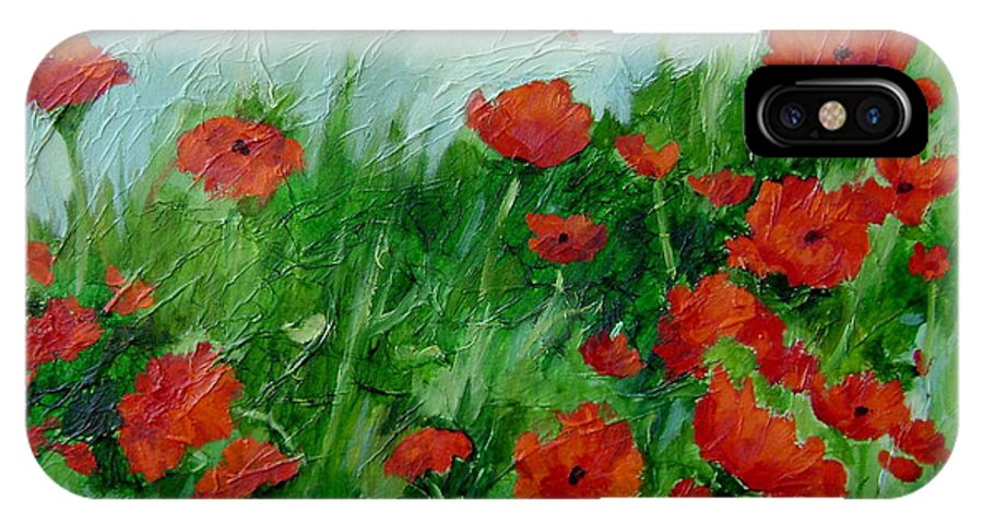 Red Poppies IPhone X Case featuring the painting Summer Poppies by Ginger Concepcion