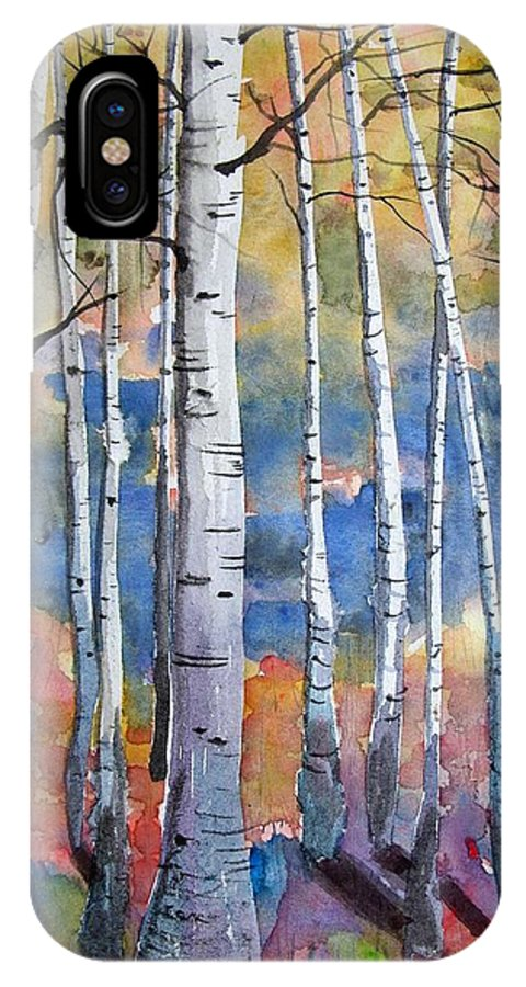 Watercolour IPhone X Case featuring the painting Summer Shadows by Trudy Kepke