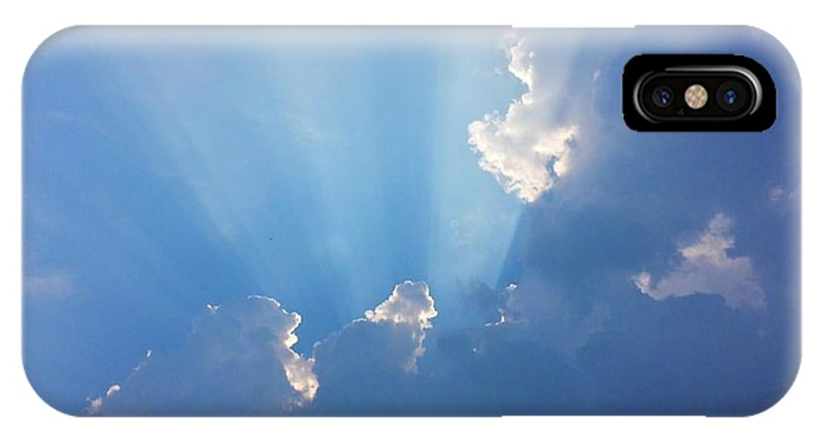 Blue Sky IPhone X Case featuring the photograph Storm Clouds And Sun by Harriet Harding