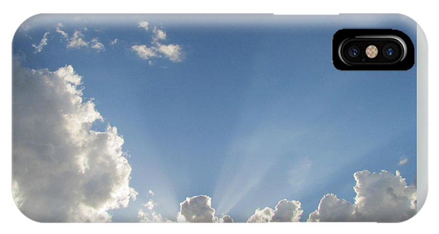Sky IPhone X Case featuring the photograph Sun Beaming Thru Clouds by Nancy Hopkins