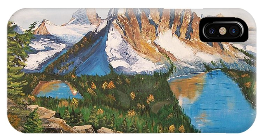 Canada IPhone X Case featuring the painting Sun Burst Peak Canada by Sharon Duguay