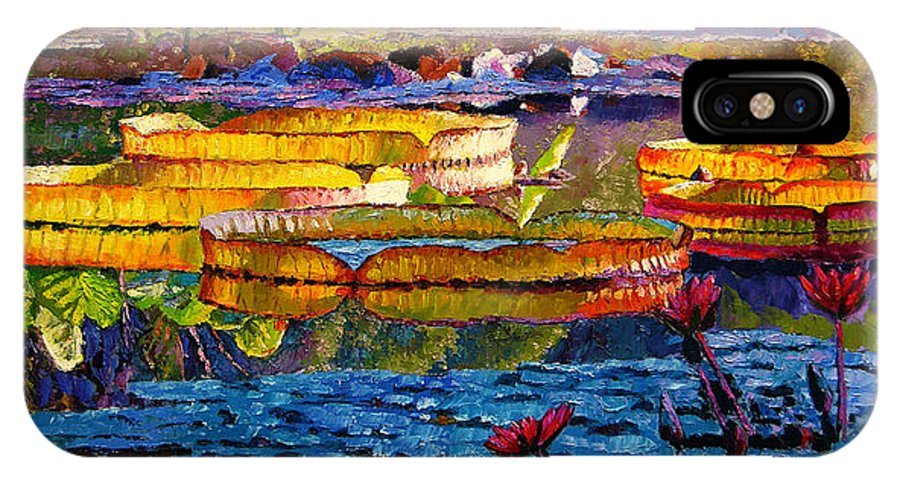 Water Lilies IPhone X Case featuring the painting Sun Color And Paint by John Lautermilch