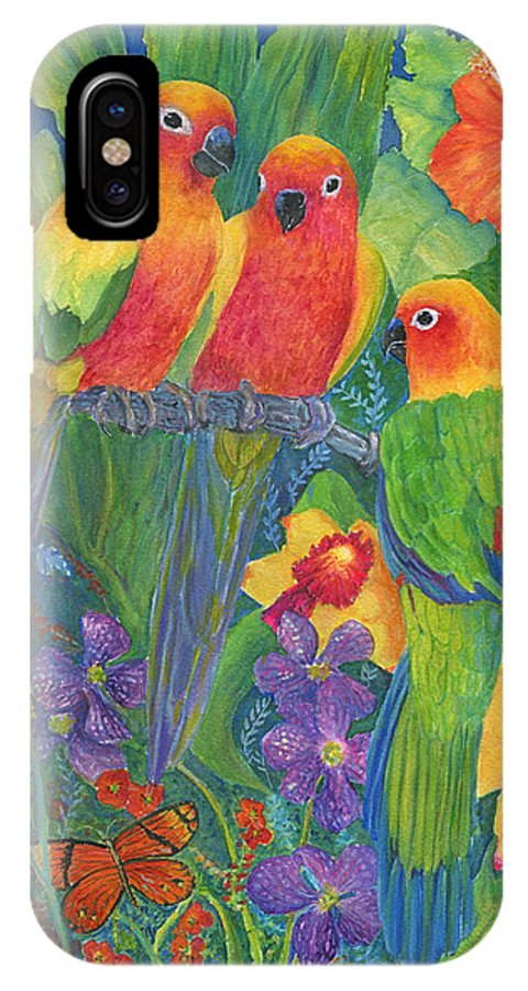 Birds IPhone X Case featuring the painting Sun Conure Parrots by June Hunt