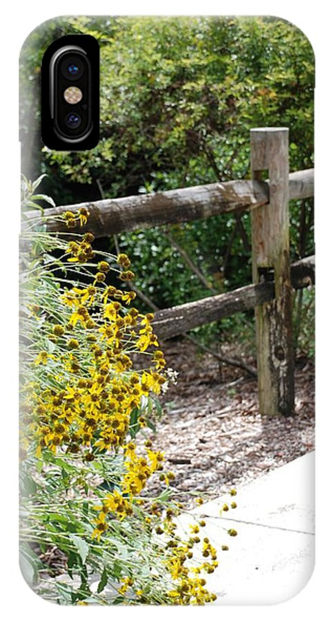 Macro IPhone X Case featuring the photograph Sun Flower Fence by Rob Hans