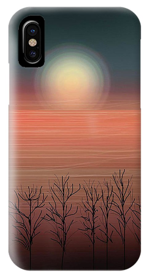 Sunset IPhone X Case featuring the painting Sun Going To Bed by Anne Norskog