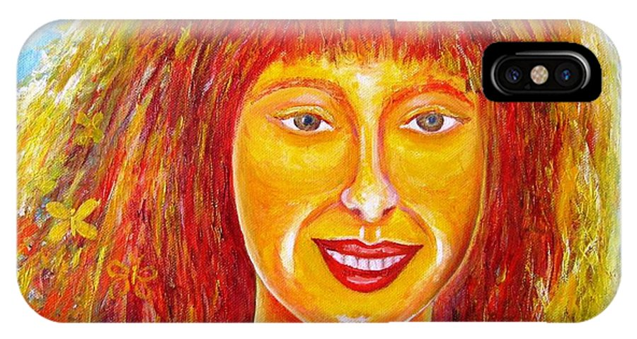 Portrait IPhone X Case featuring the painting Sun In Soul by Stella Velka