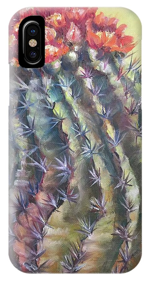 The Desert Cactus Is Not Just One Color And In The Bright Sun All The Colors Have A Glow All Of Their Own. The Greens Are Greener IPhone X Case featuring the painting Sun Kissed Barrel Cactus by Charme Curtin